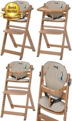 TIMBA Safety 1st Highchair Natural Wood/Happy Day - Krzeselko z wkładką