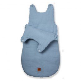 Hi Little One - śpiworek NEWBORN BABY BLUE muslin cotton TOG 3,5 wiek 0 m+