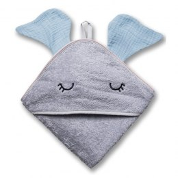 Hi Little One - Ręcznik z kapturem 100 x 100 ELEPHANT hooded bath towel Baby blue