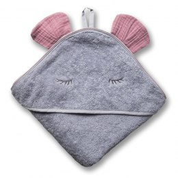 Hi Little One - Ręcznik z kapturem 100 x 100 MOUSE hooded bath towel BLUSH