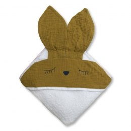 Hi Little One - Ręcznik z kapturem 100 x 100 SLEEPY BUNNY hooded bath towel Olive