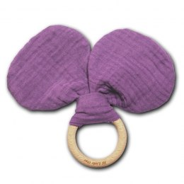 Hi Little One - szeleszczący gryzak Mouse muslin with wood teether Lavender