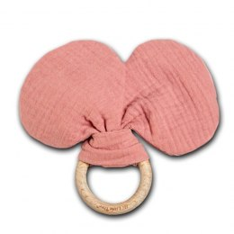 Hi Little One - szeleszczący gryzak Mouse muslin with wood teether Salmon