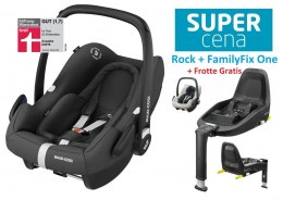 ROCK Maxi-Cosi I-Size do 75cm 0-13kg + Baza FamilyFix One + Frotte Gratis - Essential Black