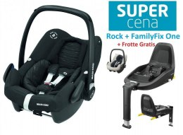 ROCK Maxi-Cosi I-Size do 75cm 0-13kg + Baza FamilyFix One + Frotte Gratis - Scribble Black